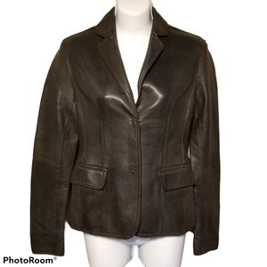 Michael Kors Brown Genuine Leather Blazer Jacket